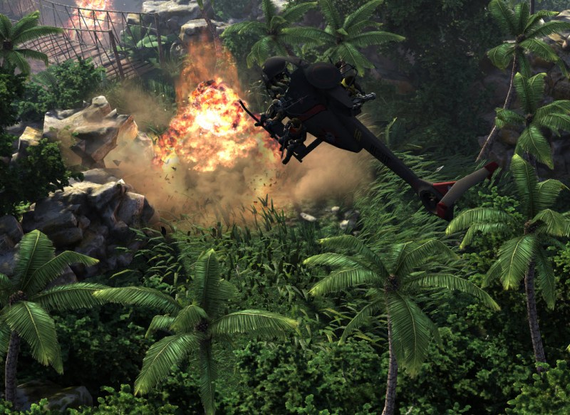 The Collectables features CryEngine graphics as in this helicopter explosion.