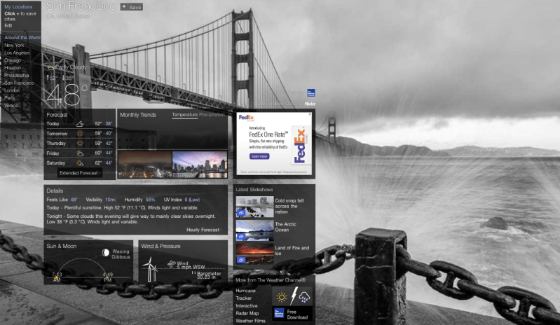 Desktop layout for Yahoo Weather.