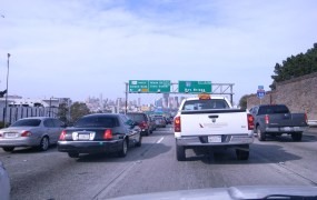 A typical traffic jam on  the way to downtown San Francisco.