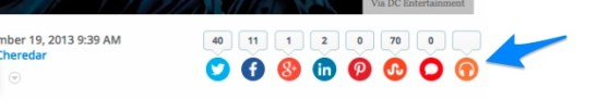 The new Umano Button found within the row of social sharing options on VentureBeat article pages.
