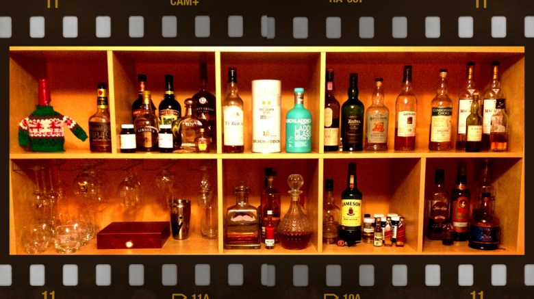A cabinet full of whiskey.