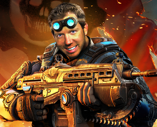 Epic Games' former design director eradicates the Locust threat as Damon Baird from Gears of War.