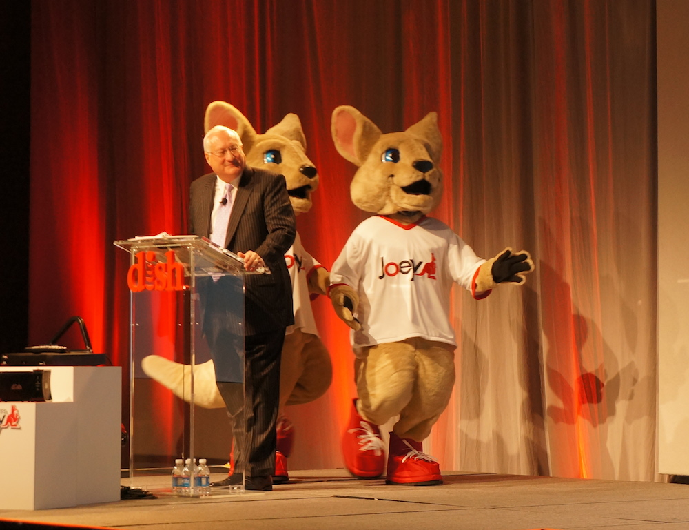 Dish CEO Joe Clayton introducing the company's new Hopper and Joey apps.