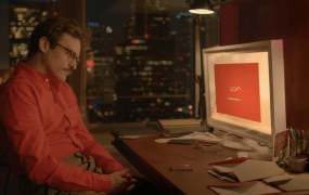 "Joaquin Phoenix in the AI love story ""Her."""