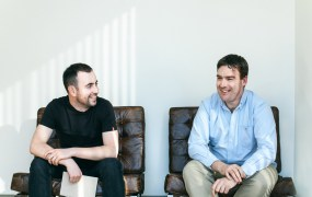 Intercom co-founders Eoghan McCabe and Des Traynor in the company's San Francisco office.