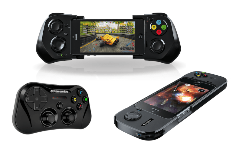 Three iOS game controllers from PowerA, Logitech, and SteelSeries.
