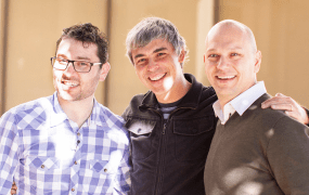 From left, Nest's Matt Rogers, Google's Larry Page, and Nest's Tony Fadell.