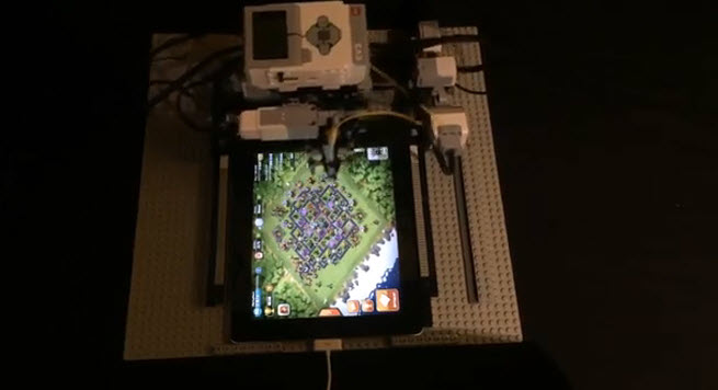 Top view of Clash of Clans robot player.