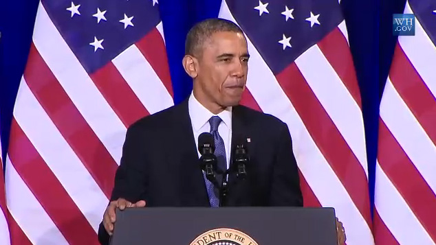 Obama begins his remarks on U.S. government surveillance on Jan. 17, 2014.