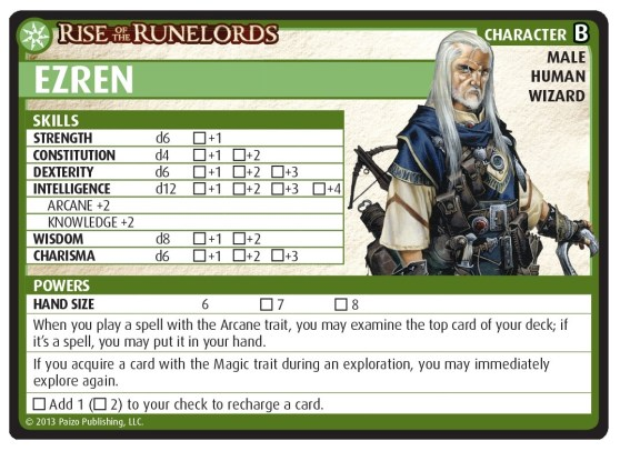 Pathfinder Adventure Card Game - character card