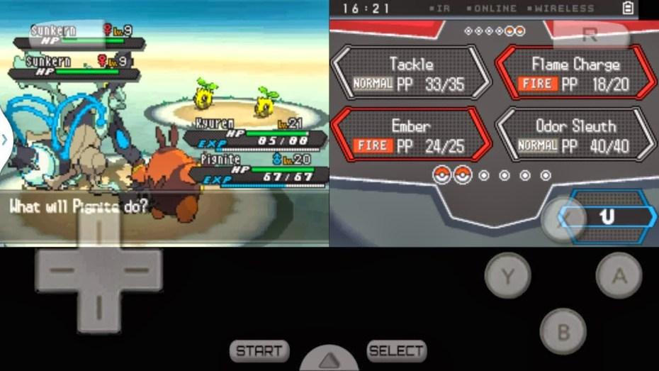 Pokémon running on a phone using an emulator.