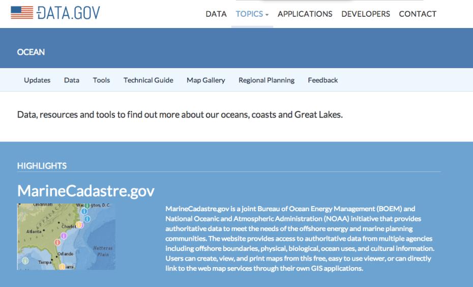 A screenshot from Data.gov