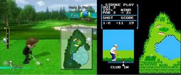 On the right, you can see one of the holes from Golf for NES. On the left, you can see that the Wii Sports Golf version's hole has the same basic shape. The hazard locations are also pretty much the same.