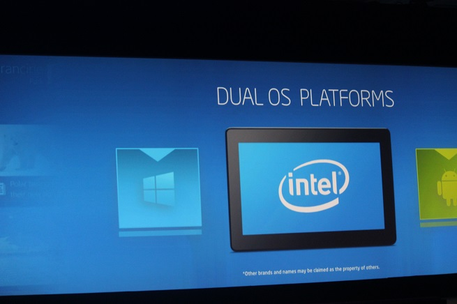 Intel CEO Brian Krzanich combined Windows and Android dual-OS PCs.