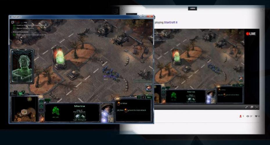 XSplit Gamecaster streaming StarCraft II to Twitch.