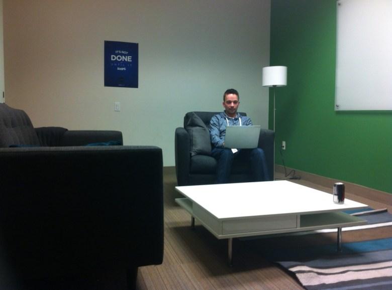 Brad Rydzewski, a cofounder of Drone.io, at Rackspace's Geekdom coworking facility in San Francisco.