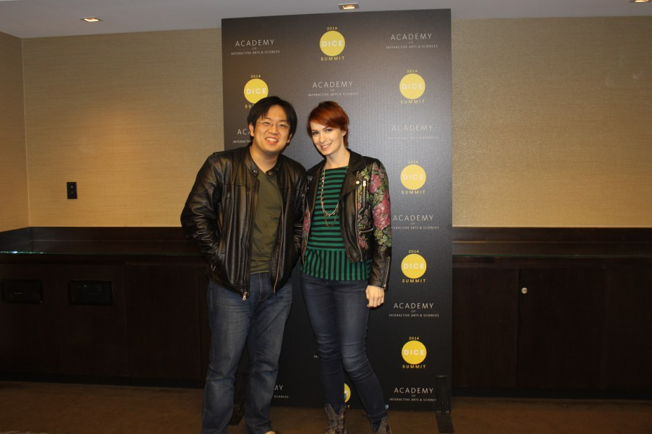 Freddie Wong and Felicia Day at an interview with GamesBeat.