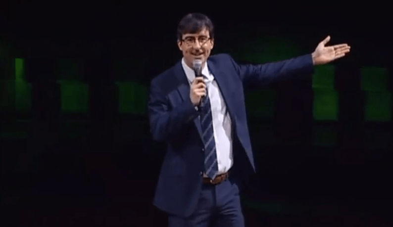 John Oliver onstage at the 2012 Crunchies in February, 2013.
