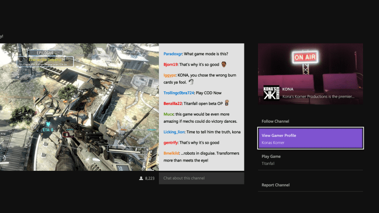 Xbox One's expansive Twitch app.