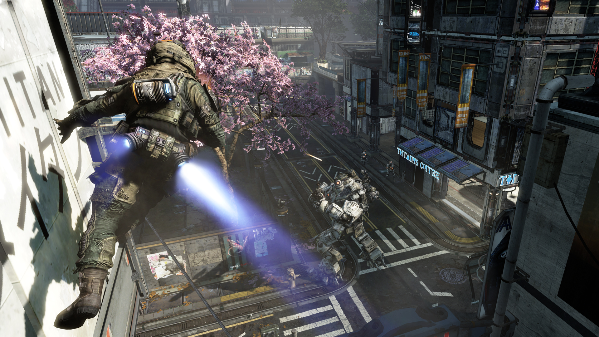 A soldier runs on a wall in a 1-on-1 battle with a mech unit.