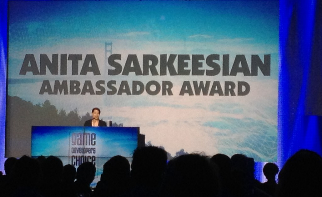 Anita Sarkeesian accepts the Ambassador Award at the 2014 GDCAs