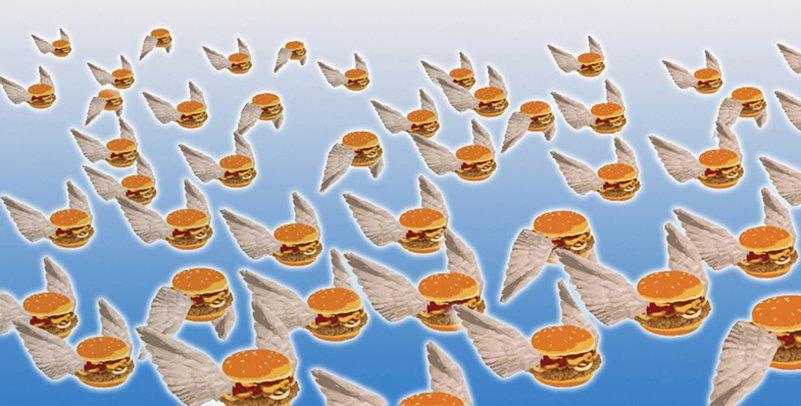 Flying hamburgers