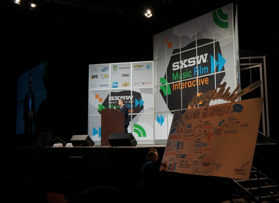 Editor of The Intercept Glenn Greenwald (virtually) addressed a crowd of attendees at SXSW 2014.