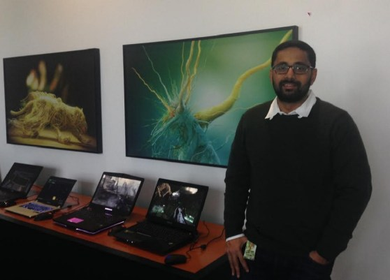 Kaustubh Sanghani of Nvidia with gamer laptops that use Nvidia m800 series chips.
