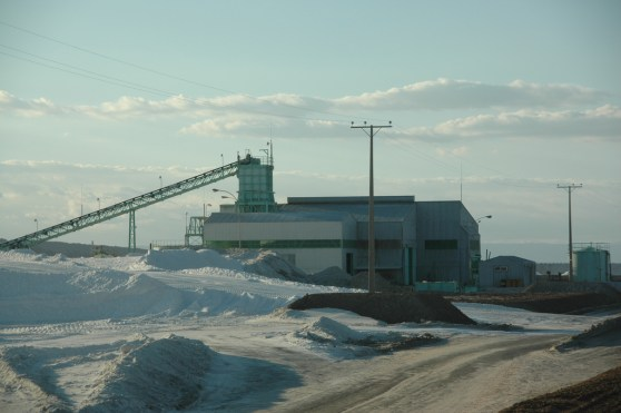 A lithium processing plant in Chile. Lithium is typically refined from vast piles of salts.