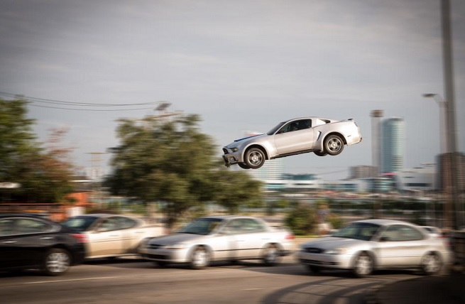 A big stunt scene in Need for Speed.