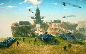 A picture of three tanks and five infantrymen lined up on a hill, overlooking an enemy base in Planetside 2.