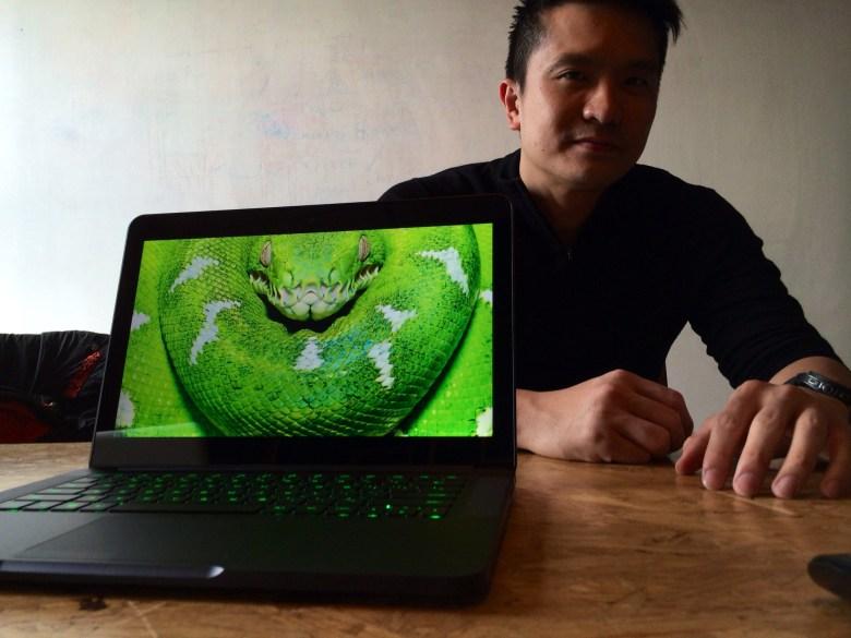 Razer CEO Min-Liang Tan with the new Razer Blade laptop.