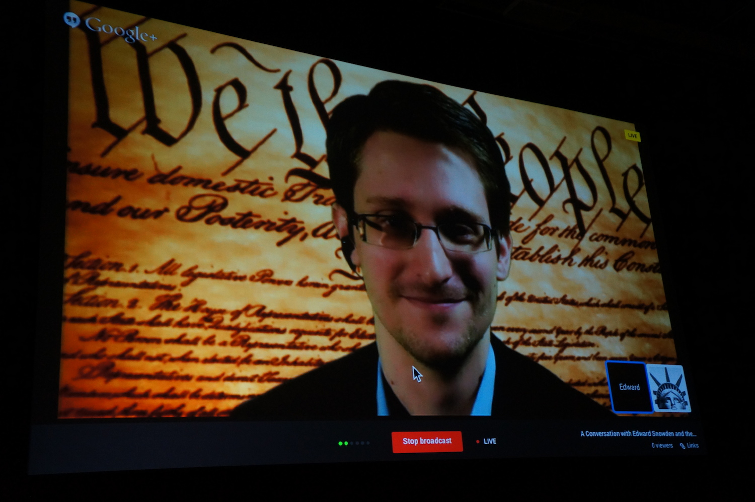 Edward Snowden speaks on an Internet video connection at SXSW.