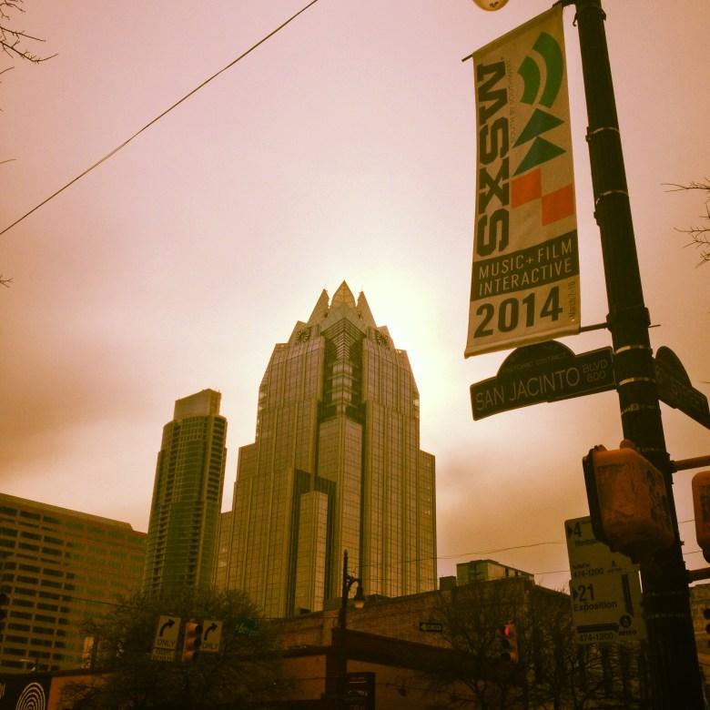 SXSW 2014 banner in downtown Austin.