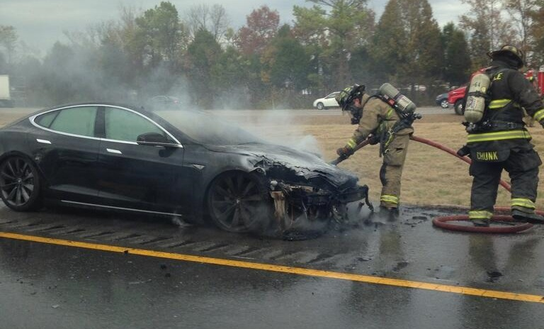 A third Tesla Model S caught fire after hitting road debris.