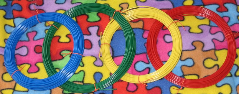 "Multicolored ABS filament rolls are the plastic ""ink"" used by most consumer 3D printers."