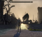 A third person perspective camera view of a character looking out at a beach at dawn, with Nordic ships lining the beach.