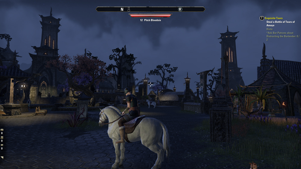 A third person picture of a character sitting on a horse, in a cobblestone courtyard in a city square, at night.