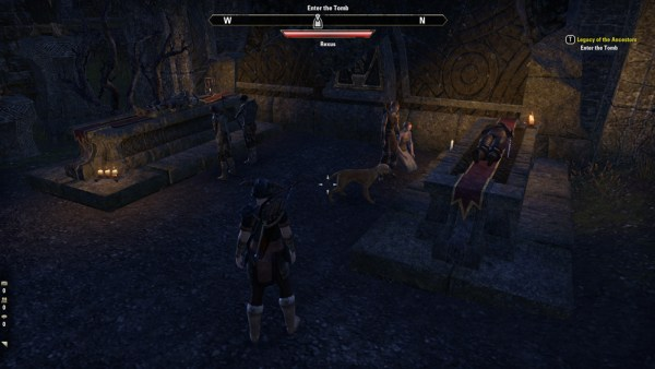 A picture of four non-player characters holding an evening vigil over two bodies laid out on stone slabs.