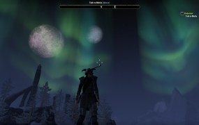 A third person perspective picture of the character looking up at sheets of neon green gas in the sky.