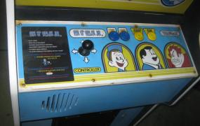 The Fix-It Felix, Jr. cabinet has 1980s-looking wear and tear even though it was produced in 2012 by Disney.