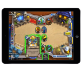 Blizzard's Hearthstone card game running on an iPad.