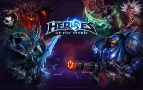 A promotional image for the new Blizzard game, Heroes of the Storm, showcasing some iconic Blizzard characters.