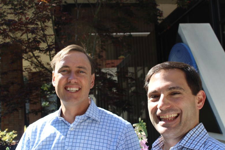 Steve Jurvetson (left) and one of his partners, Andreas Stavropoulos, at DFJ