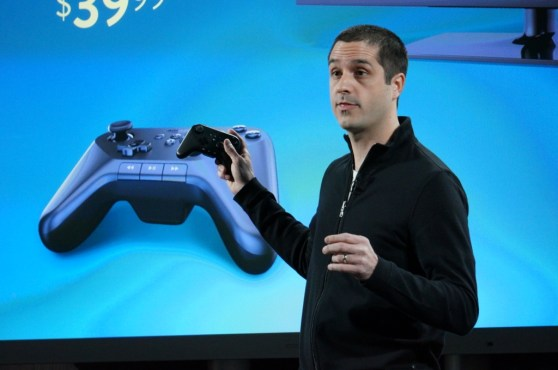 Amazon's Mike Frazzini showing off the Kindle Fire TV's game controller