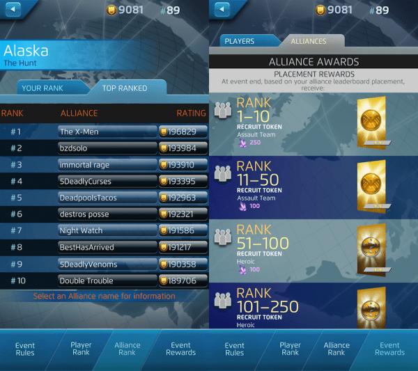 Alliance leaderboard [left] and rewards.
