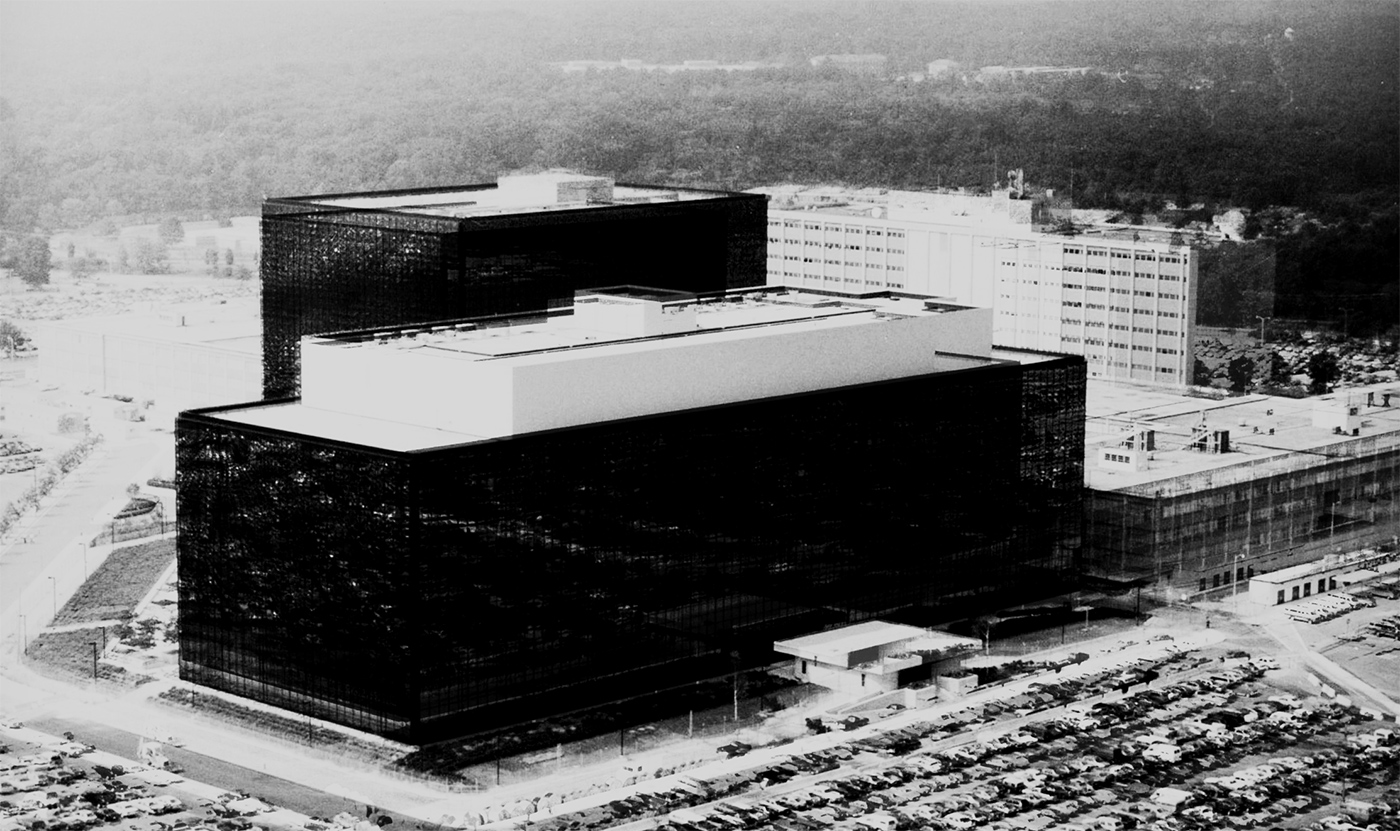 A photo composition of National Security Agency headquarters in Maryland, U.S.