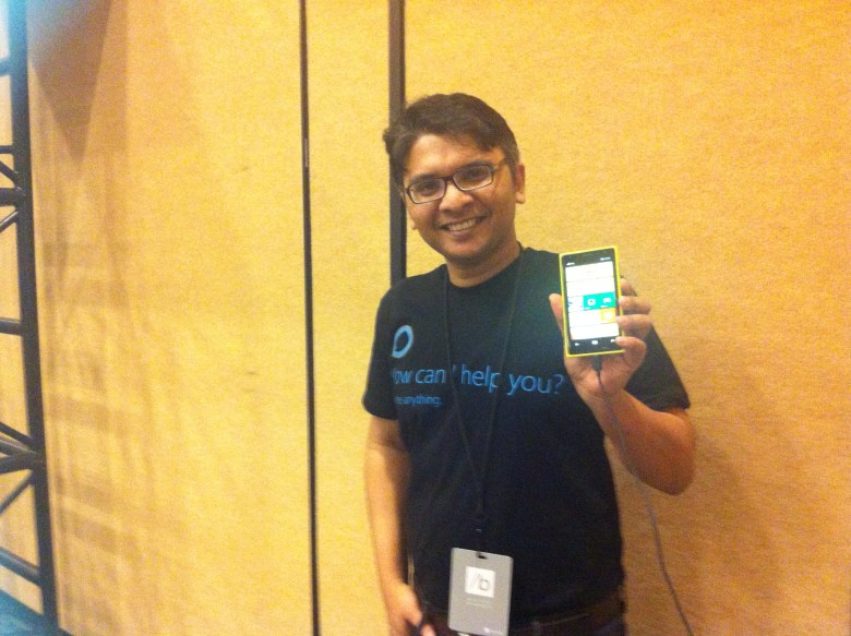 Santanu Basu, who works on product marketing on Microsoft's Bing team, at the company's Build conference on April 2.