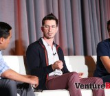 Chrys Bader-Wechseler, center, co-founder & chief product officer at Secret, speaks at VentureBeat's Mobile Summit in Sausalito, Calif., on April 15. Suhail Doshi, chief executive of Mixpanel, is at right.