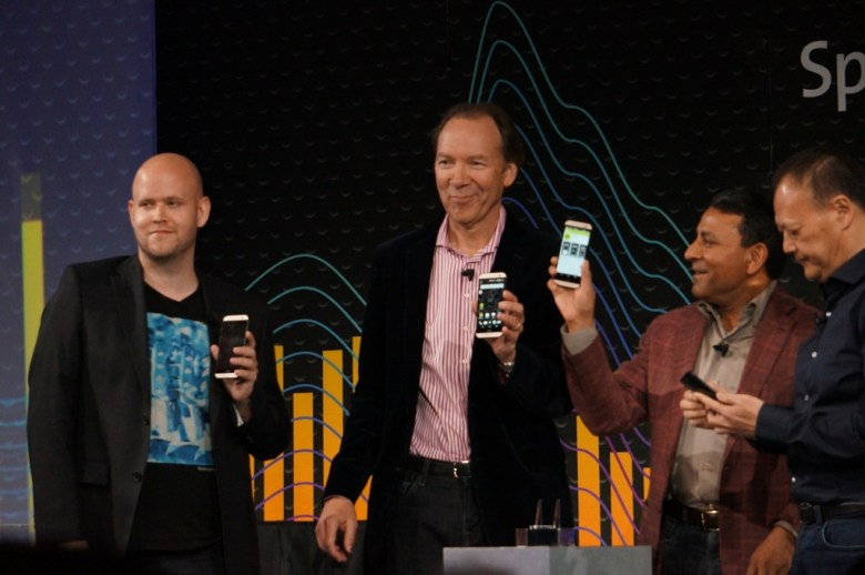 Left to right: Spotify CEO Daniel Ek; Sprint CEO Dan Hesse; Harman Kardon CEO Dinesh Paliwal; HTC CEO Peter Chou